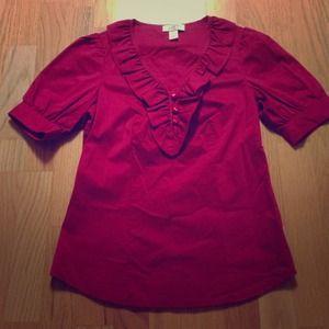 Ann Taylor Loft red blouse size 00P