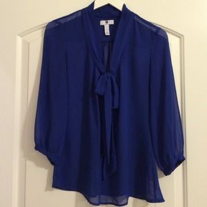 Royal Blue Gap Bow Blouse