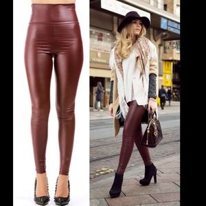 NEW Gorgeous Wine Red Faux Leather Leggings💋