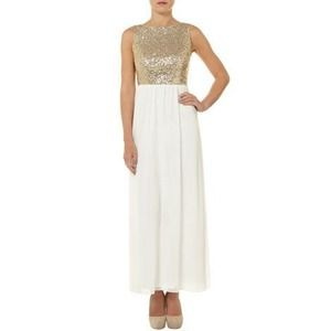 Gold sequin white maxi dress