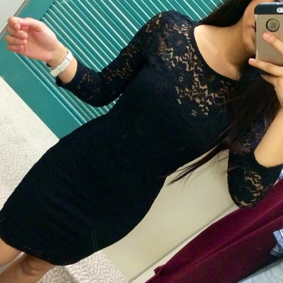 Forever 21 Dresses Tight Black Lace Sleeved Dress Poshmark