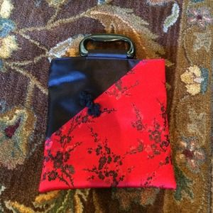 Handbags - Red and black Chinese inspired evening bag