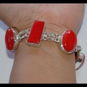 "handmade & handcrafted gemstone jewelry Jewelry - ✂️SALE Red Onyx 925 Silver Bracelet 7 3/4-8 1/2"""