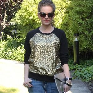 Tops - Black & Gold Sequined Sweatshirt