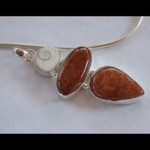 "handmade & handcrafted gemstone jewelry Jewelry - Red Calcite & Shiva Shell Necklace Pendant 3"""