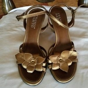 Franco Sarto brown metallic floral heels sz 6.5
