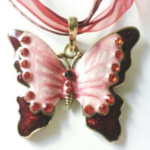 pink and red butterfly necklace
