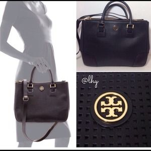 TORY BURCH PERFORATED DOUBLE-ZIP TOTE
