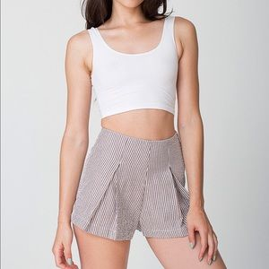 American Apparel Pants - High Waist Pleated Seersucker Shorts
