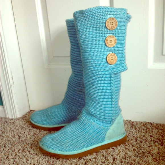 Cardy Knit Aqua Blue UGGs- Authentic