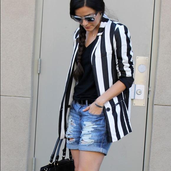 50% off Zara Jackets & Blazers - Black and White Striped Blazer ...
