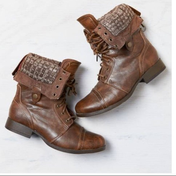 Brown Lace Up Combat Boots - Cr Boot
