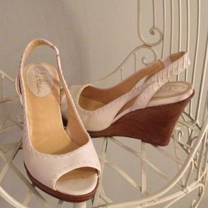 {cole haan} Peep-Toe Cream Wedges