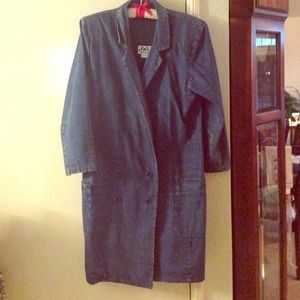 Coat dress style denim material double breasted