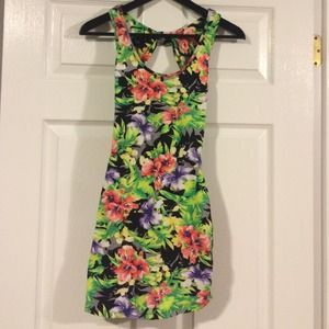 tropical cut out dress