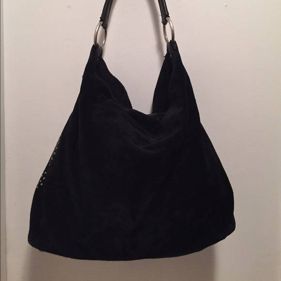 67% off Lucky Brand Handbags - Lucky Brand Black Suede Leather ...