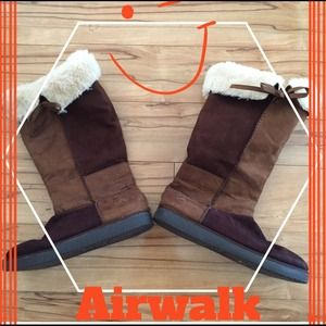 Airwalk Comfy Brown Suede Boots with Fur, 10