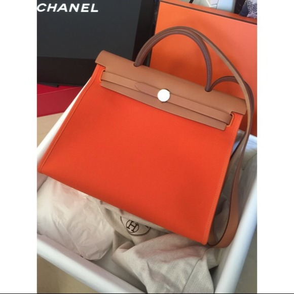 hermes navy cloth handbag herbag