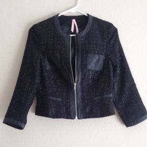 Tweed style fitted jacket collarless