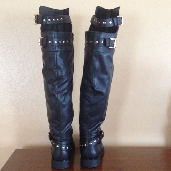 25% off JustFab Shoes - Studded over the knee boots from Rachel's ...