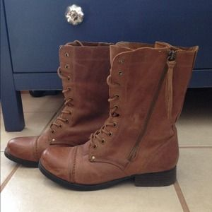 ALDO real leather lace up boots w zipper Sz 6.5