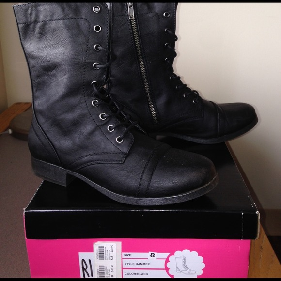 37% off Charlotte Russe Boots - Black Womens Lace up Leather Ankle ...