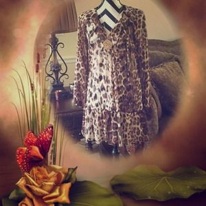 Sale Bebe animal print sheer shirt dress