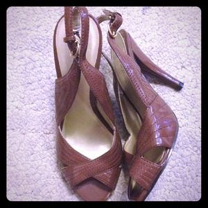 Brown patent sling back peep toe high heels