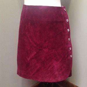 Vintage 70s Burgundy Suede Mini Wrap Skirt XS S