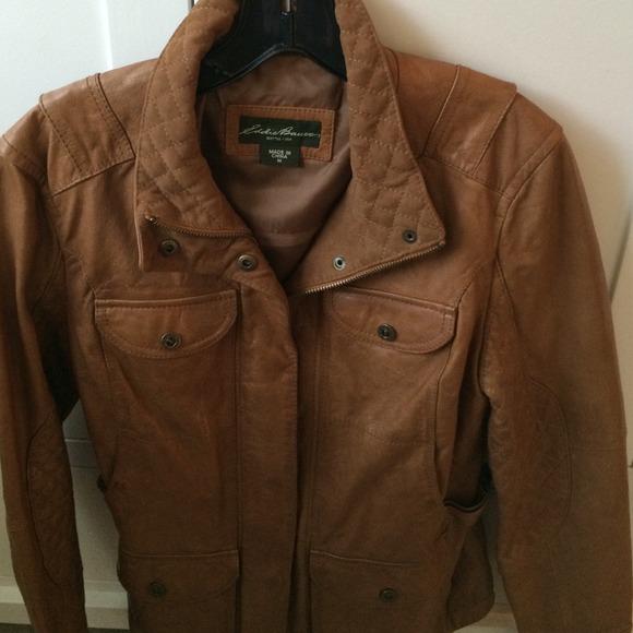 abd782a8084fe Eddie Bauer Outerwear - Eddie Bauer tan leather jacket