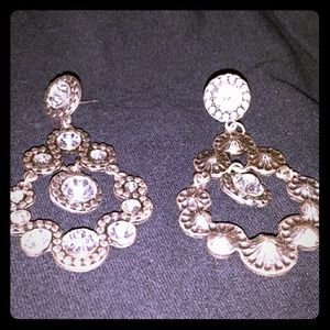 Crystal and silvertone chandelier earrings