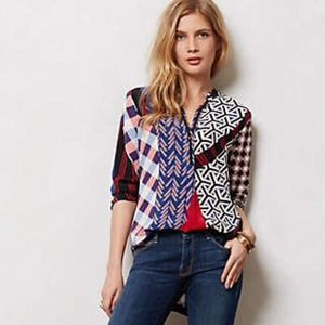 ⚡️HOST PICK ⚡️Anthropologie Patchwork Silk Blouse