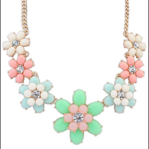 multi colored pastel floral statement necklace os from