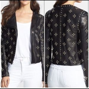 DVF Cocoa Studded Leather Jacket 2 NWOT