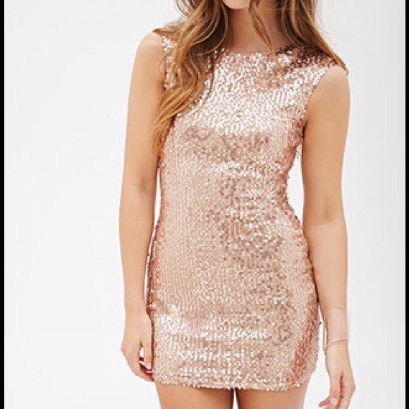 43% off Forever 21 Dresses & Skirts - Sequin rose gold sheath ...
