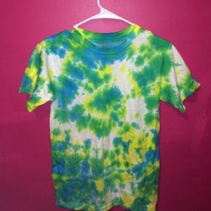 Tops - blue,green,and yellow tie dye t-shirt