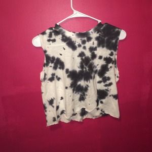 Tops - black and white tie dye crop tank