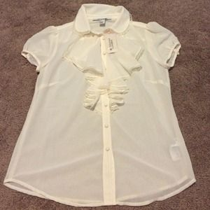 Forever 21 Tops - Cream colored sheer top with ruffle