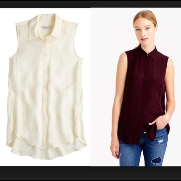 316bb45612809f J. CREW Silk Sleeveless Collar Button Shirt Blouse