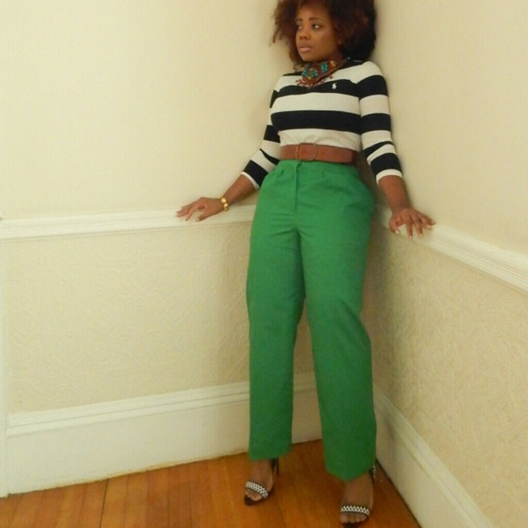 69% off Pants - Vintage Apple Green High Waist Trousers from ...