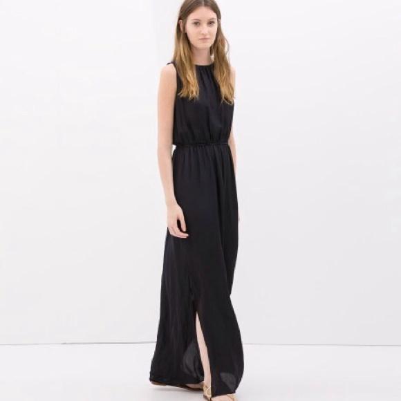 f8c2b308 Zara Dresses   Navy Blue Black Long Maxi Dress With Belt   Poshmark