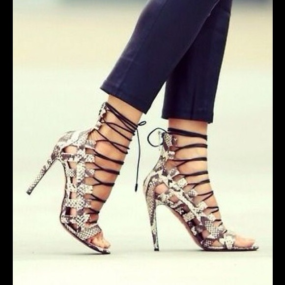 22% off Shoes - LACE UP HEELS SEXY FAUX SNAKE! from Lynne's closet ...