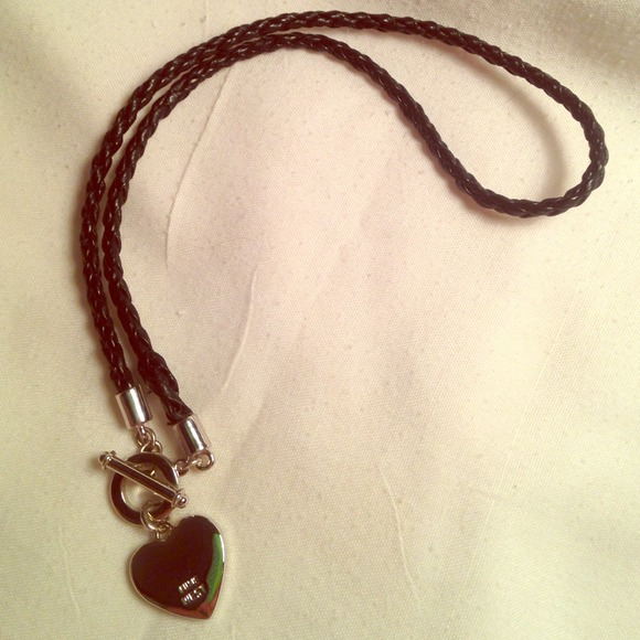 Nine West Jewelry Leather Silver Heart Necklace By