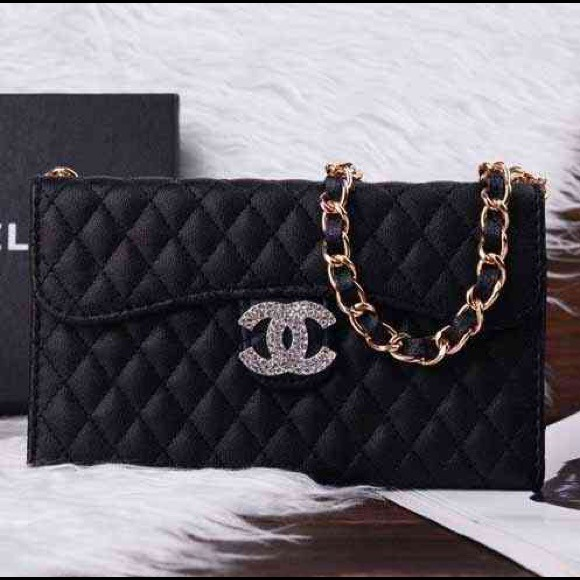 best service e40e9 529f5 Chanel Black Leather Quilted iPhone 6 Wallet Case