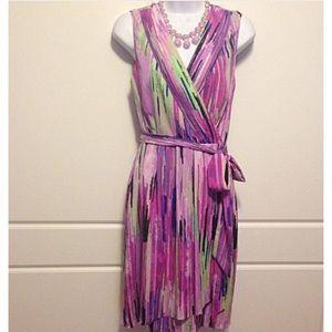 Catherine Malandrino Dresses & Skirts - Catherine Malandrino Striped Faux Wrap Dress