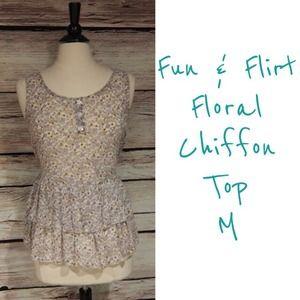 Fun & Flirt Tops - Fun & Flirt Chiffon floral top M