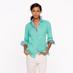 J. Crew Perfect Shirt in Linen Dot
