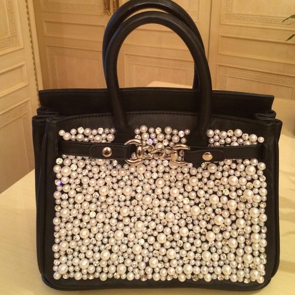 bd1f9c8831 Leah and Bliss Handbags - Leah Bliss Mini Uptown Pearl Black Calfskin Bag