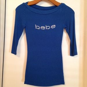 bebe Tops - Bebe - Cobalt Blue Logo Boatneck Top
