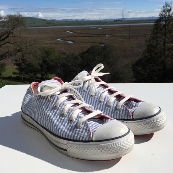 8eeccae95b9e Converse Shoes - Converse Seersucker Light Blue Stripe Sneakers 9